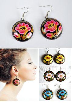 earrings of wood with hand painted handmade wooden Dangling Earrings Gift idea for her Black Pink Green painting earrings Pink flowers by VivaArcenciel on Etsy https://www.etsy.com/listing/230468032/earrings-of-wood-with-hand-painted