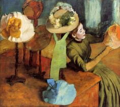 At the Milliner's, 1879 ~ Edgar Degas ~ (French: 1834-1917)