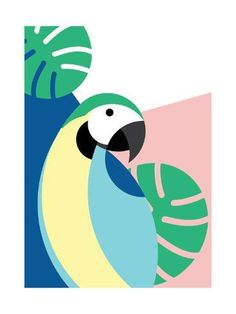 Art Print: Tropical Bird in Abstract Geometric Style: Blue Macaw Parrot by Radiocat : Simple Canvas Paintings, Small Canvas Art, Mini Canvas Art, Poster Color Painting, Posca Art, Abstract Geometric Art, Bird Art, Painting Inspiration, Journal Inspiration