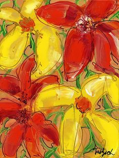 Lynne Taetzsch, Abstract Floral Four, Painting, Acrylic on Canvas, 2012 Picture Wire, Abstract Canvas, Acrylic Canvas, Painting Abstract, Abstract Flowers, Mellow Yellow, Yellow Flowers, Colorful Flowers, Abstract Expressionism