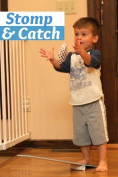This game challenges a child's visual motor skills requiring them to use their visual perceptual skills and motor skills to both stomp on the board and catch the bean bag.