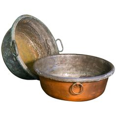 Two Antique Belgian Copper Bowls | From a unique collection of antique and modern bowls and baskets at https://www.1stdibs.com/furniture/decorative-objects/bowls-baskets/