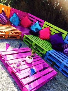 Pallet Garden Furniture, Diy Outdoor Furniture, Diy Furniture, Garden Pallet, Rustic Furniture, Antique Furniture, Modern Furniture, Furniture Plans, Garden Sofa
