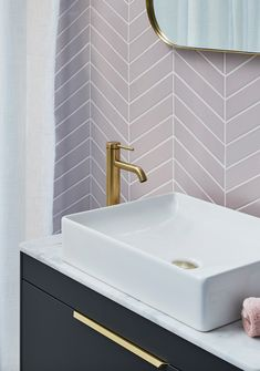 Update your bathroom space with pink herringbone tiling and gold taps in the form of our Hoxton Brushed Brass brassware. Upstairs Bathrooms, Downstairs Bathroom, Small Bathroom, Pink Bathroom Tiles, Pink Bathrooms, Bathroom Taps, Bathroom Ideas, Small Downstairs Toilet, Small Toilet Room