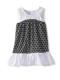 65% OFF Mini Fashionista Girl's Ruffle Bottom Dress (Black/White)