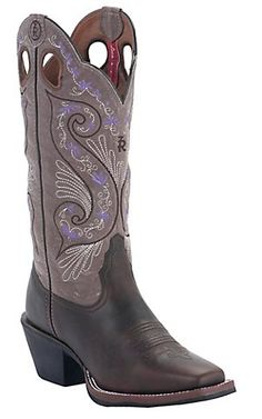 Tony Lama® 3R™ Womens Dark Walnut Brown w/ Tawny Embroidered Top Double Welt Punchy Square Toe Western Boots | Cavenders Boot City