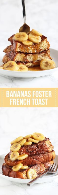 Best breakfast recipe ever! Bananas Foster French Toast feature a caramelized…