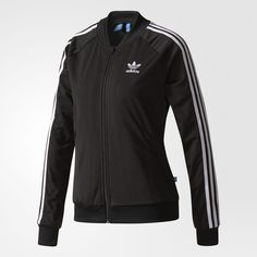 adidas Superstar Track Jacket - Black | adidas US ($70) ❤ liked on Polyvore featuring activewear, activewear jackets, adidas, track jacket, warm up jackets, track top and tracksuit jacket