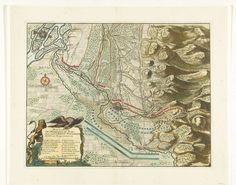 Anonymous | Aanval van de Franse op de linie bij Stollhofen, 1703, Anonymous, 1703 | Kaart van de linie bij Stollhofen bij Fort Louis aan de Rijn, aangevallen door de Fransen op 23 april 1703. Linksonder een cartouche met de Duitse adelaar en de Nederlandse Leeuw bij de legenda A-M.