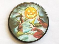 Witches Fly Beneath a Halloween Pumpkin by EclecticEnchantments