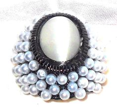 Cat's Eye Ring with glass Pearls in Black tone Stainless steel size 8 USA SELLER #Unbranded #SolitairewithAccents