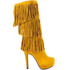 Who says boot season has to be boring?  The Burlesque will you give you flashy fashion even in the chilly months.  This Mojo Moxy boot showcases a soft mustard suede with layers of fringe covering the 12 inch shaft and vamp.  This pull on style delivers a 1 1/2 inch hidden platform and 5 inch stiletto heel.