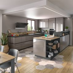 In this open kitchen, the materials harmonize and complement each other! - 8 regular nutrition recommendations for weight control Decrease the fat for breakfast and head for pulp foods Starting the…More Kitchen Room Design, Home Decor Kitchen, Kitchen Furniture, Kitchen Interior, Home Furniture, Kitchen Vinyl, Open Kitchen, Kitchen Tiles, Kitchen Flooring