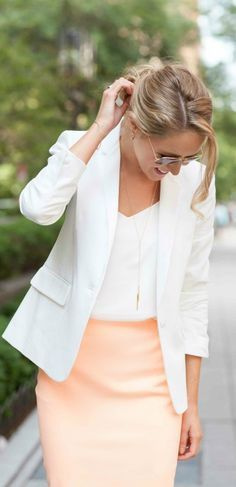 Peach skirt,white top,white blazer