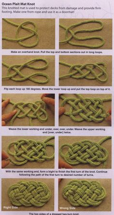 Knotted coasters & trivets is part of Knots diy - Rope Crafts, Yarn Crafts, Diy And Crafts, Arts And Crafts, Beaded Crafts, Rope Knots, Macrame Knots, Paracord Knots, Macrame Bag