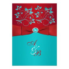 Red Turquoise Floral PRINTED Ribbon Wedding Invite ~ Possible~ maybe too bright tho