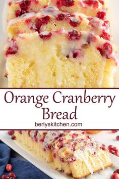 This orange cranberry bread is incredibly moist, dense, and full of orange and cranberry in every bite. It's even topped with a sweet orange glaze that puts it over the top. Cranberry Orange Bread, Cranberry Cake, Cranberry Quick Bread, Orange Zest, Fruit Bread, Dessert Bread, Baking Recipes, Cake Recipes, Dessert Recipes