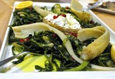 Wild Greens Salad from Crete: Wild Greens, Barley Rusk, Fresh Cheese, Pomegranate and Olive Oil
