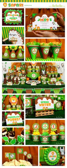 Safari Birthday Party Package Collection Set Mega Personalized Printable Design by leelaaloo.com || #safari #zoo #animal #forest #green #diy #birthday #party #theme #Leelaaloo