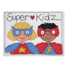 Cute Fun SuperKidz Kids Super Hero Poster Print - decor gifts diy home & living cyo giftidea Superhero Bulletin Boards, Hero Poster, Superhero Kids, Custom Posters, Illustrations Posters, Custom Framing, Poster Prints, Kids Rugs, Child