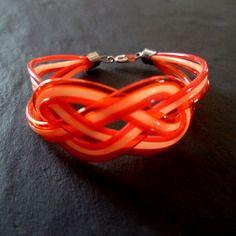Bracelet scoubidou enfant rouge et orange