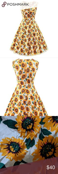 sunflower retro dress 🌻🌻 🌻♥️ beautiful sunflower dress. A-line swing style.  I bought online but size was totally off so please see measurements. It says XXL but fits smaller . Please see measurements before buying!! Its not true to size XXL Offers are ok 👍 It was purchased online but never worn. Measurements are laying flat⬇️ Bust 20 inches . length from top to bottom 44inches . Hips 25 inches . Dresses Midi