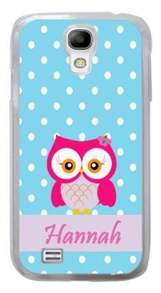 Samsung Galaxy S3 S4 S5 PERSONALIZED BLUE POLKADOT PINK OWL #Samsung