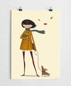 Illustrazione a tema di autunno di caduta con una ragazza e il suo cane nel vento. Stampa di alta qualità realizzato su carta fine 250g con una stampante Epson di grande formato. Formati disponibili: 30x42cm a3 (11,7 x 16.5 ) A4 21x30cm (8.3x11.7 ) A5 15x21cm (5.9x8.3 ) -------------------------------- Telaio non incluso I manifesti vengono consegnati in tubi di cartone robusti, o buste di cartone, a seconda delle dimensioni della stampa. -------------------------------- Vendo anche al...