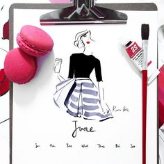 Well she's tres Parisian, and she's fashionably late, but June is here!!  As a part of my awesome community, she is my monthly gift to you...  Download her now from the link in profile... Or check your inbox for her if you have downloaded previous calendars... ❤ big hugs! #khcalender