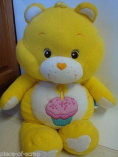 "HUGE CARE BEAR Birthday CareBear Bears 2002 Stuffed Plush Toy Vintage Pillow 30"""