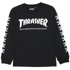 Thrasher-THRASHER KIDS L/S.TEE(black Black BLACK) (160) Thrasher Ron T... ($46) ❤ liked on Polyvore featuring twins