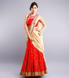 Red & Beige Stone Embellished Georgette Lehenga Set