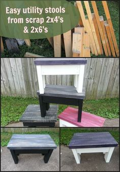 How to make utility stools/benches out of scrap 2x4's and 2x6's. http://MyRepurposedLife.com