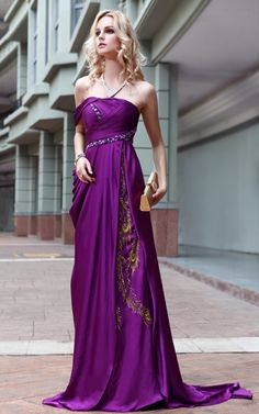 Purple Satin Ball Beading Formal Long Evening Gown Prom Dress
