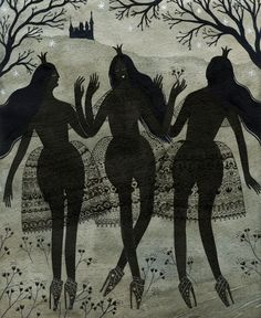 """""""Three Black Princesses"""" by Yelena Bryksenkova - for the exhibition The Enchanted Forest: Celebrating 200 Years of Grimm's Fairy Tales."""