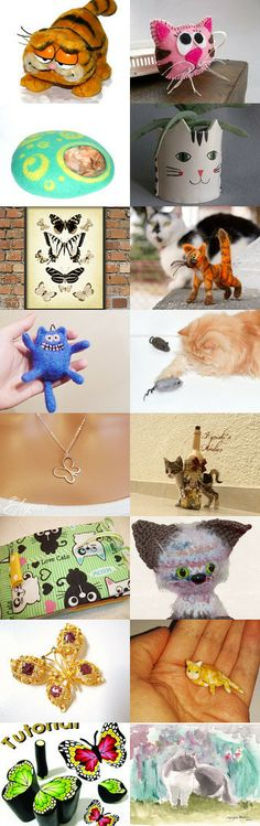 Cats and butterflies by Natasha Tayles on Etsy--Pinned with TreasuryPin.com