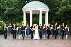 My wedding party featured on @Southern Weddings Magazine! short navy bridesmaid dresses with black suits #wedding