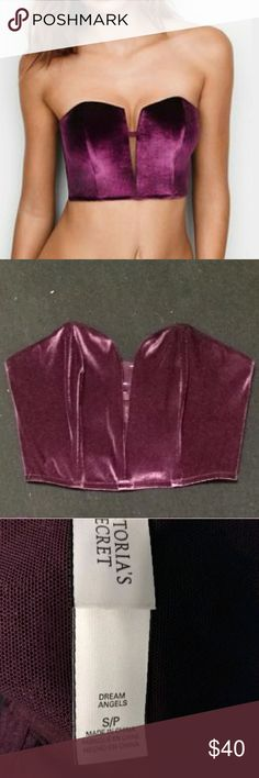 NWOT Victoria's Secret Velvet Mini Bustier Brand new, very soft, color is a plum purple, clasps in the back like a bra, fits a small or a comfortable medium, discount when bought with matching underwear in medium Victoria's Secret Intimates & Sleepwear Bras