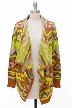 $54.00  http://www.shopamourboutique.com/new-arrivals/product/3425-neon-aztec-cardigan
