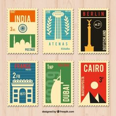 Download Collection Of Six Travel Stamps for free