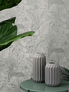 This gorgeous Sumatran Wallpaper will make a unique focal point in your home. The stylish design features tropical plants and foliage as well as exotic monkeys, lemurs, toucans and tigers all in a beautiful sparkling metallic silver finish. This is set on a soft grey background with a smooth matte finish for a stunning contrast. Easy to apply, this high quality wallpaper would look great as a feature wall, or equally as good when used to decorate a whole room. Lemurs, Tropical Wallpaper, Pattern Matching, Paper Wallpaper, High Quality Wallpapers, Tropical Plants, Gray Background, Exotic Pets, Monkeys