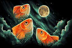 3 golfish moon print by                      *griffsnuff