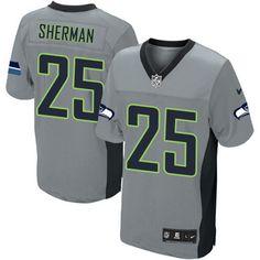ceeacf9df Men s Nike Seattle Seahawks  25 Richard Sherman Elite Grey Shadow NFL  Jersey Seattle Seahawks