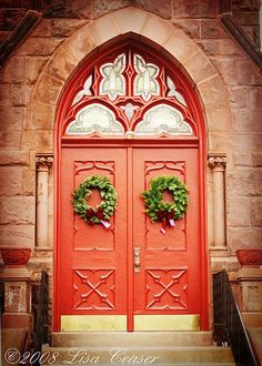 Red Church Door Print