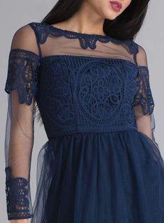 *Chi Chi London Navy Crochet Bodice Midi Skater Dress - Dorothy Perkins