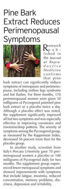 Pine Bark Extract reduces #menopause symptoms