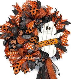 Diy Halloween Reef, Halloween Ribbon, Halloween Fabric, Halloween Ghosts, Diy Halloween Decorations, Cute Halloween, Halloween Crafts, Halloween Wreaths, Halloween Pumpkins