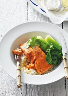 Steamed Salmon with ginger rice