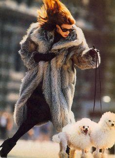 "80s-90s-supermodels: "" ""When It's Cold Outside…"", Vogue US, October 1985 Photographer : Eddy Kohli Model : Kristen McMenamy """
