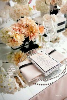 White, cream, blush and black wedding. Loving this.. totally want it to be 1920's ish though? this does it justice, I think.